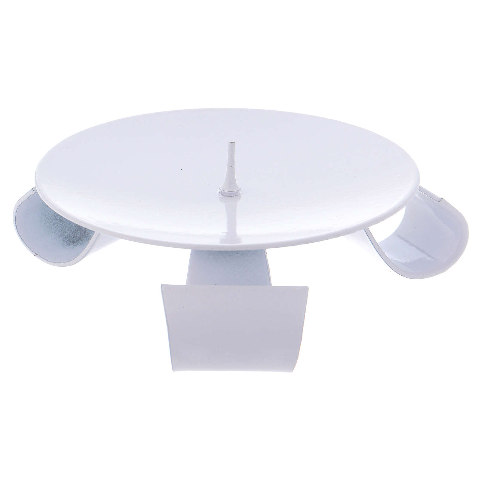 Portavela trípode hierro blanco y punta d. 9 cm 3