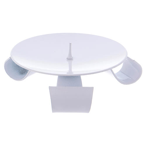 Portavela trípode hierro blanco y punta d. 9 cm 2