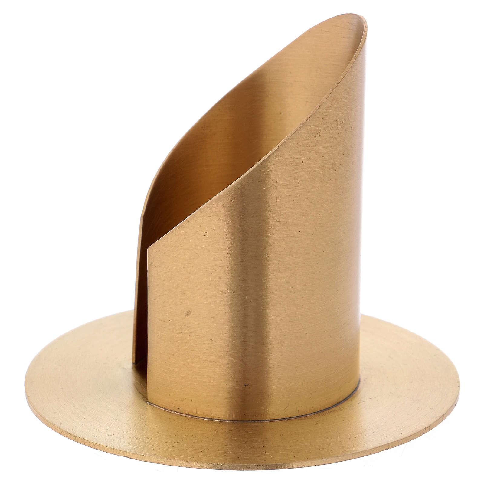 Portacandela a forma tubolare con apertura in ottone dorato d. 6 cm 4