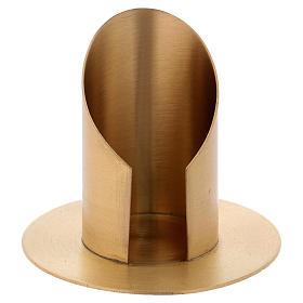 Portacandela a forma tubolare con apertura in ottone dorato d. 6 cm s1