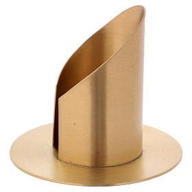 Portacandela a forma tubolare con apertura in ottone dorato d. 6 cm s2