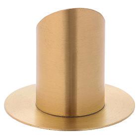 Portacandela a forma tubolare con apertura in ottone dorato d. 6 cm s3