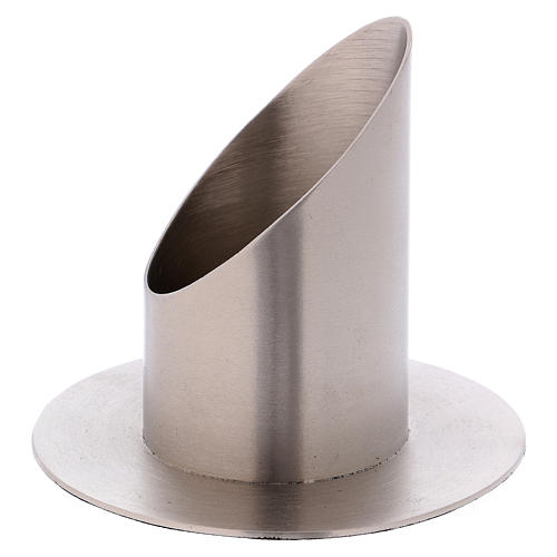 Tube-shaped candle holder in satinised silver-plated brass diam. 6 cm 2