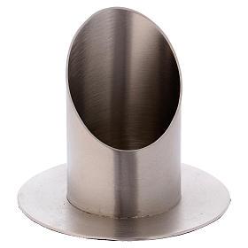 Portacandela a forma tubolare in ottone argentato satinato d. 6 cm s1