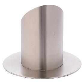 Portacandela a forma tubolare in ottone argentato satinato d. 6 cm s3