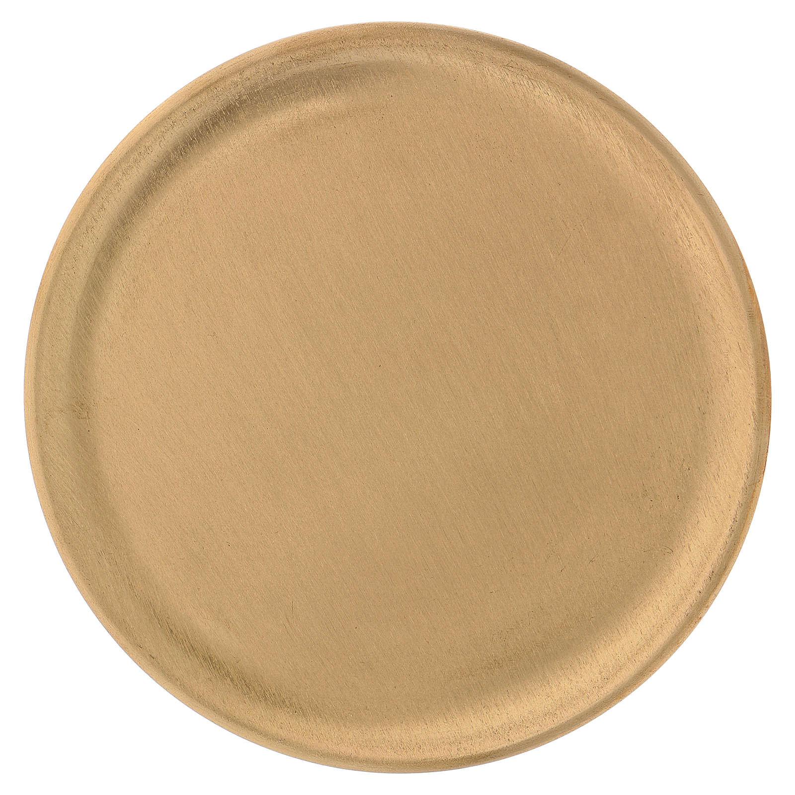 Piattino portacandele ottone satinato dorato d. 14 cm 3