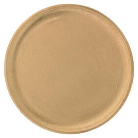 Piattino portacandele ottone satinato dorato d. 14 cm s1