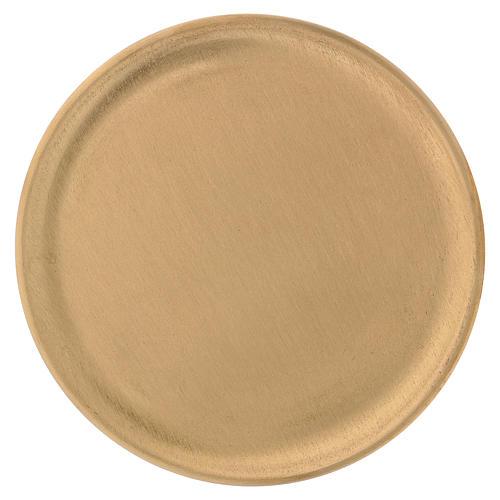 Piattino portacandele ottone satinato dorato d. 14 cm 1
