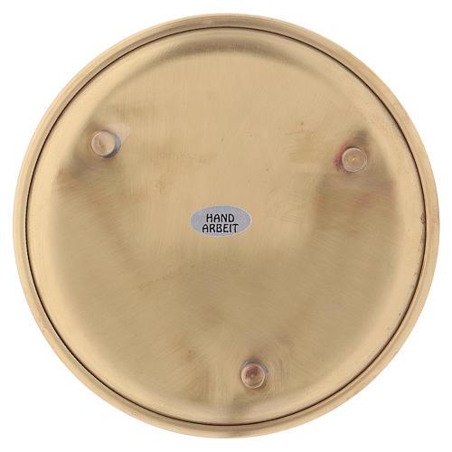 Piattino portacandele ottone satinato dorato d. 14 cm 2