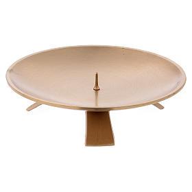 Piattino portacandele in ottone dorato opaco spuntone d. 13 cm s2
