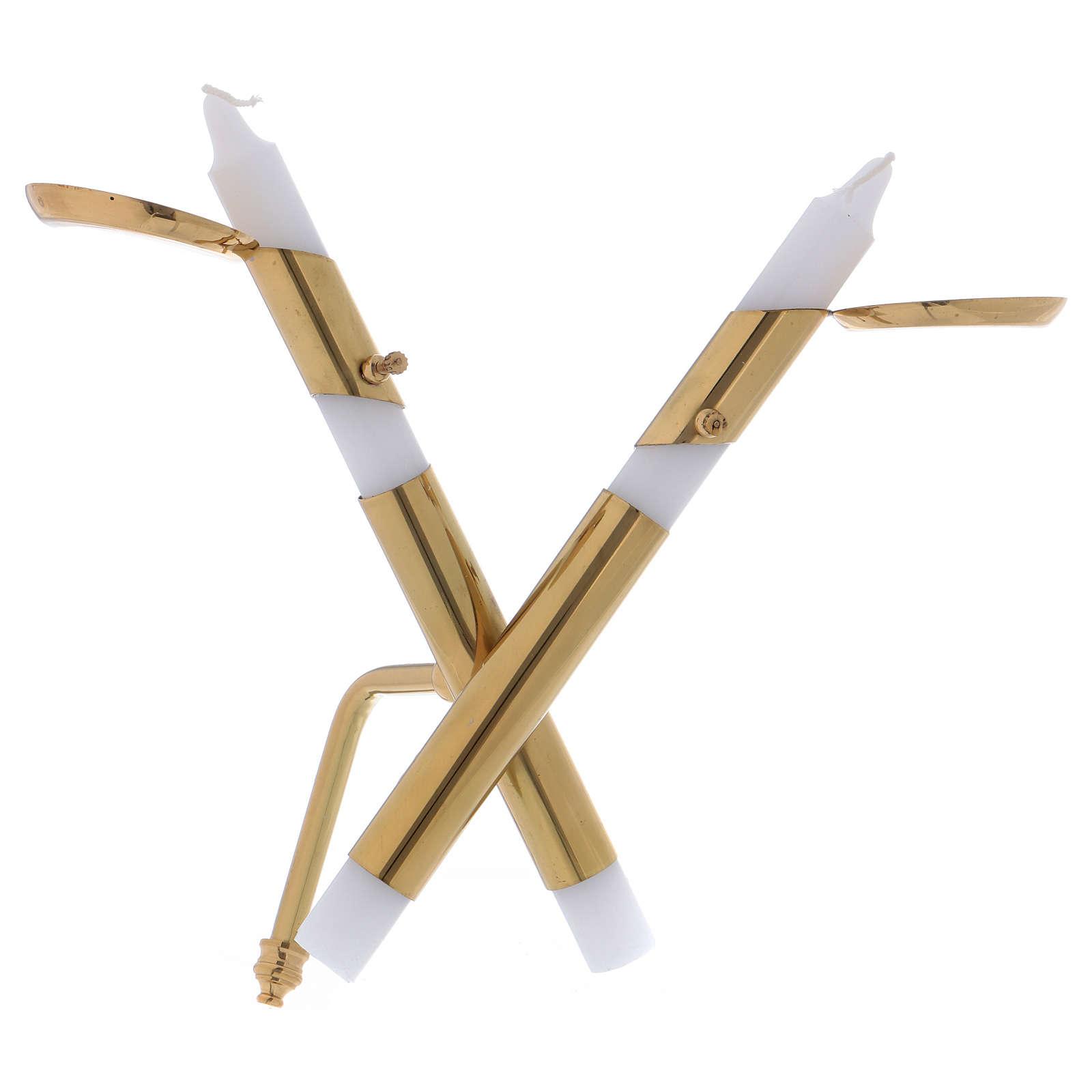 Portacandele in ottone dorato lucido moderno a forma di croce 4