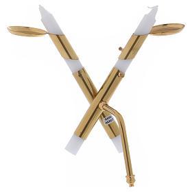 Portacandele in ottone dorato lucido moderno a forma di croce s1
