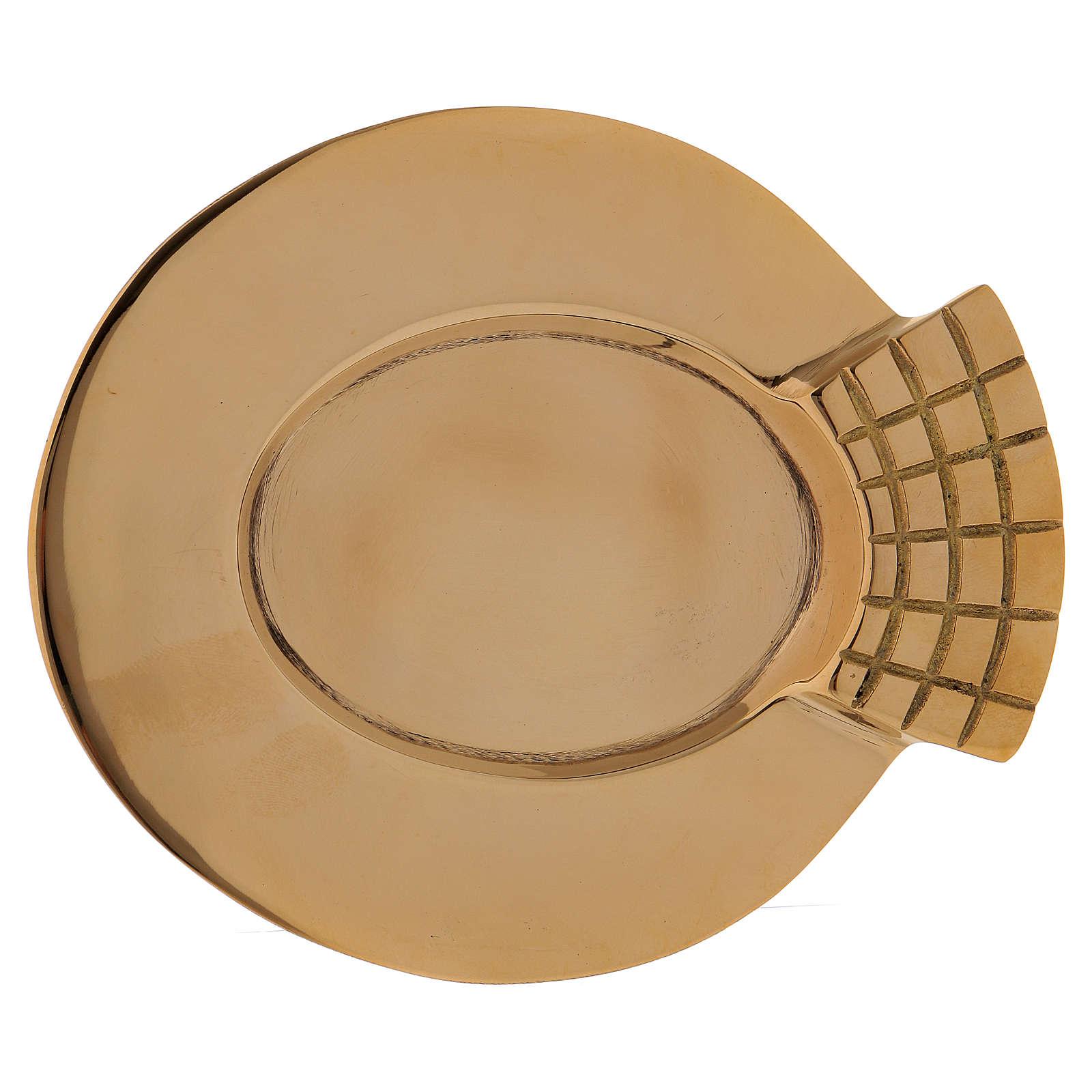 Portacandele ovale con decorazione sul bordo ottone dorato 4