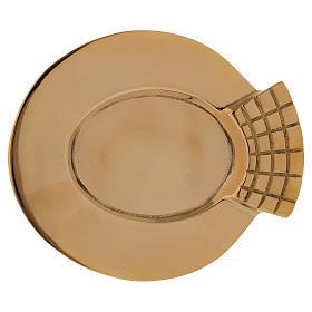 Portacandele ovale con decorazione sul bordo ottone dorato s1