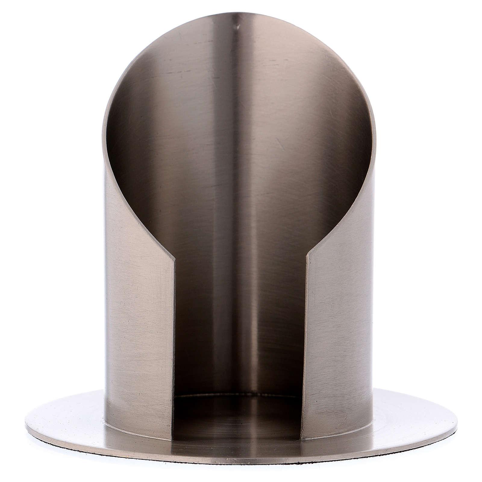 Portacero tubolare con apertura ottone argentato opaco 4
