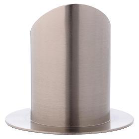 Portacero tubolare con apertura ottone argentato opaco s3