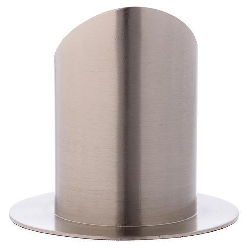 Portacero tubolare con apertura ottone argentato opaco 3