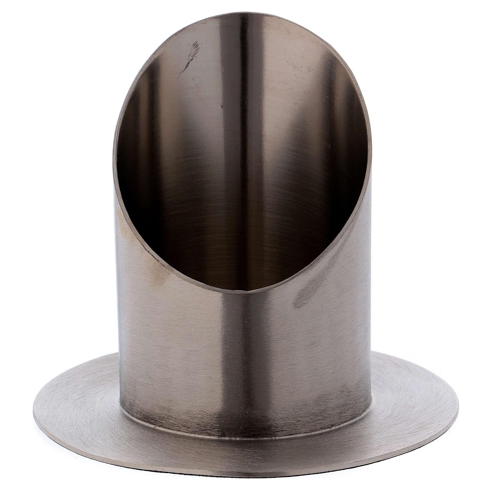 Support cierge tubulaire laiton argenté mat diamètre 7 cm 4