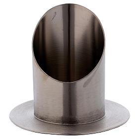 Support cierge tubulaire laiton argenté mat diamètre 7 cm s1