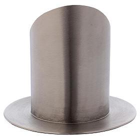 Support cierge tubulaire laiton argenté mat diamètre 7 cm s3
