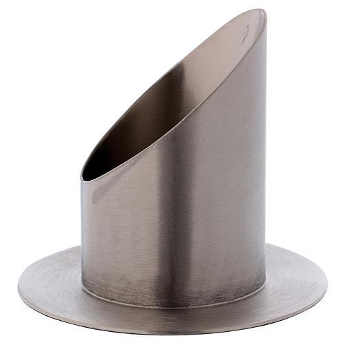 Support cierge tubulaire laiton argenté mat diamètre 7 cm 2