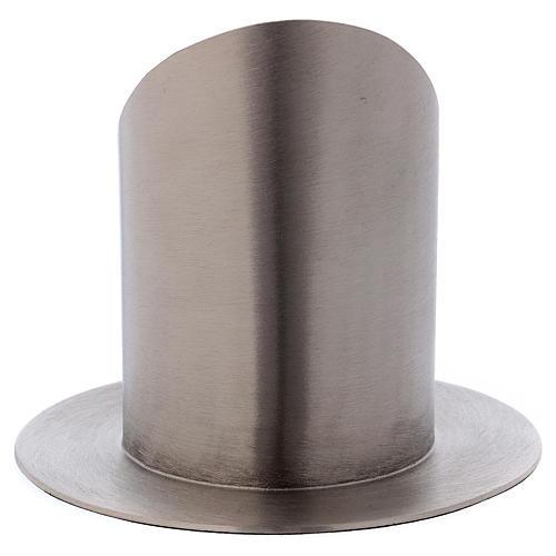 Support cierge tubulaire laiton argenté mat diamètre 7 cm 3