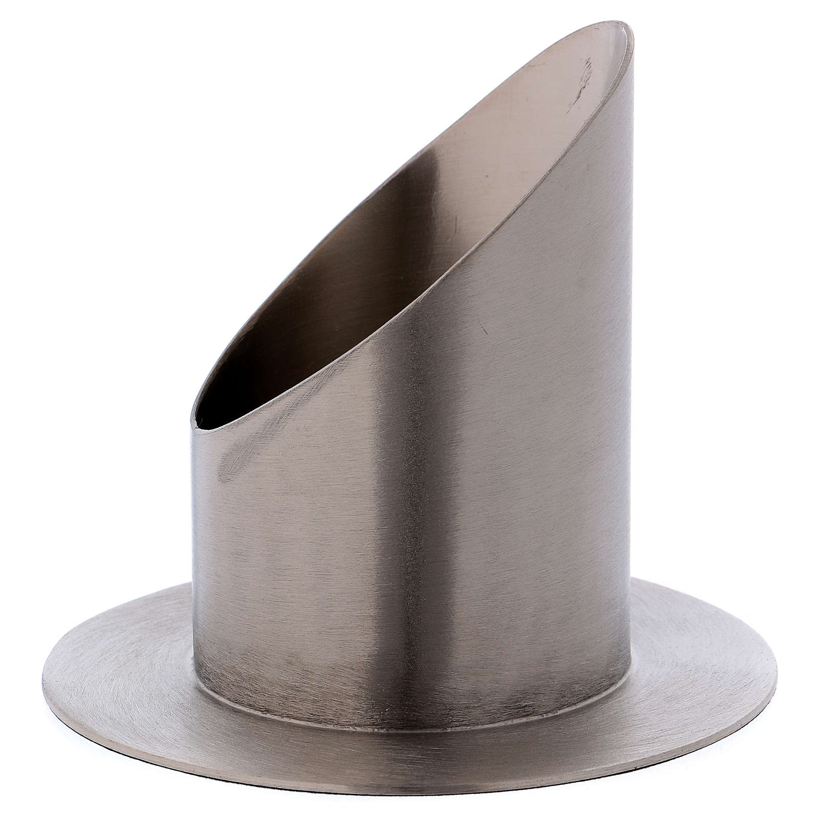 Portacero tubolare ottone argentato opaco diametro 7 cm 4