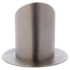 Portacero tubolare ottone argentato opaco diametro 7 cm s3