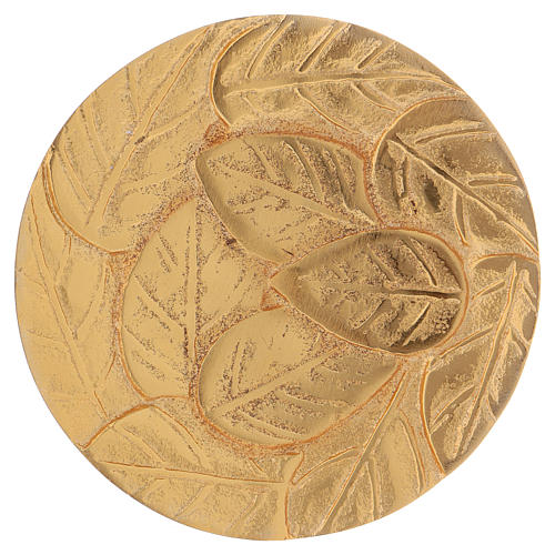 Platillo portavelas hojas aluminio dorado 1
