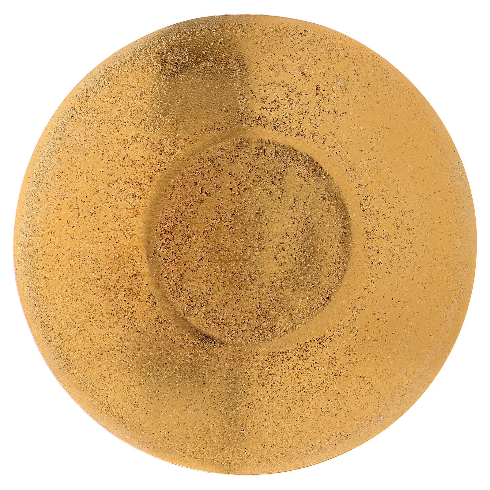 Piattino portacandele foglie alluminio dorato  3
