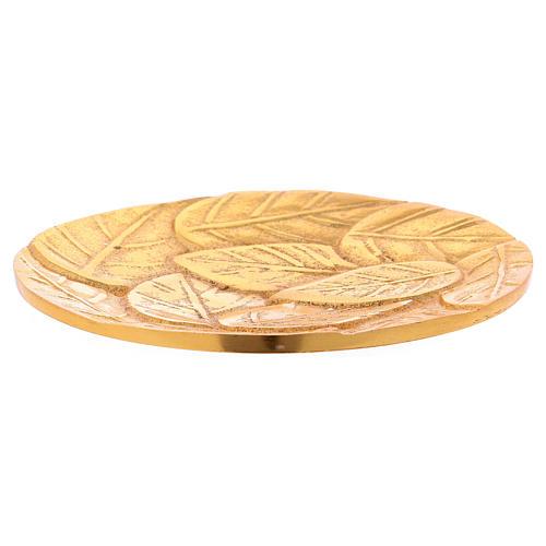 Piattino portacandele foglie alluminio dorato  2