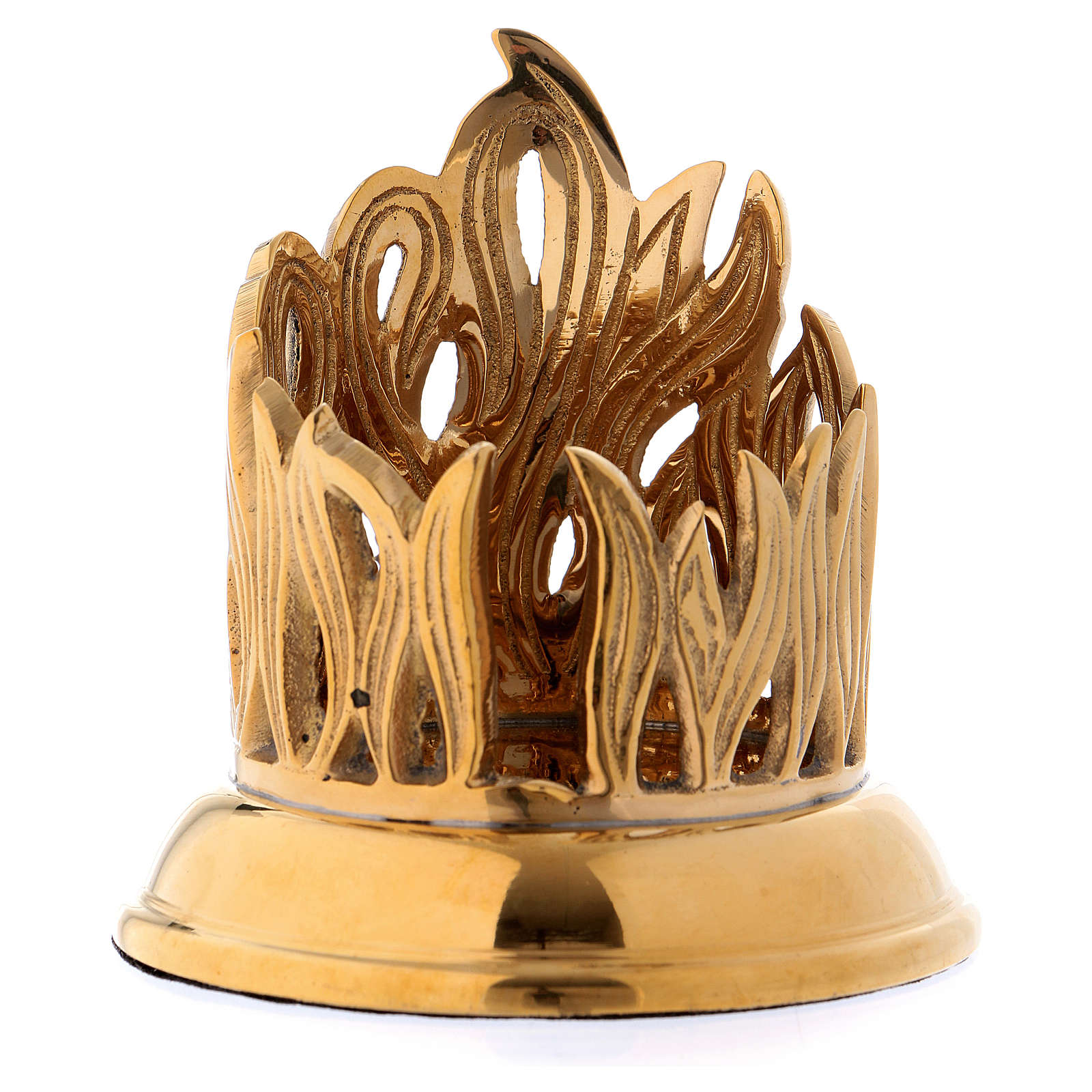 Candle holder in gold-plated brass with flame decoration 4