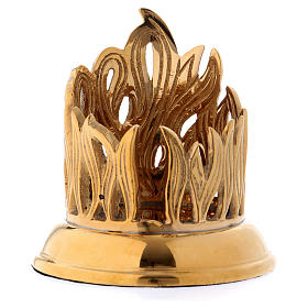Candle holder in gold-plated brass with flame decoration s1
