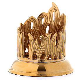 Candle holder in gold-plated brass with flame decoration s2