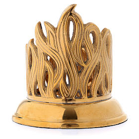 Candle holder in gold-plated brass with flame decoration s3
