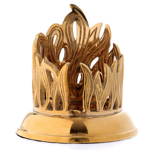 Candle holder in gold-plated brass with flame decoration 1