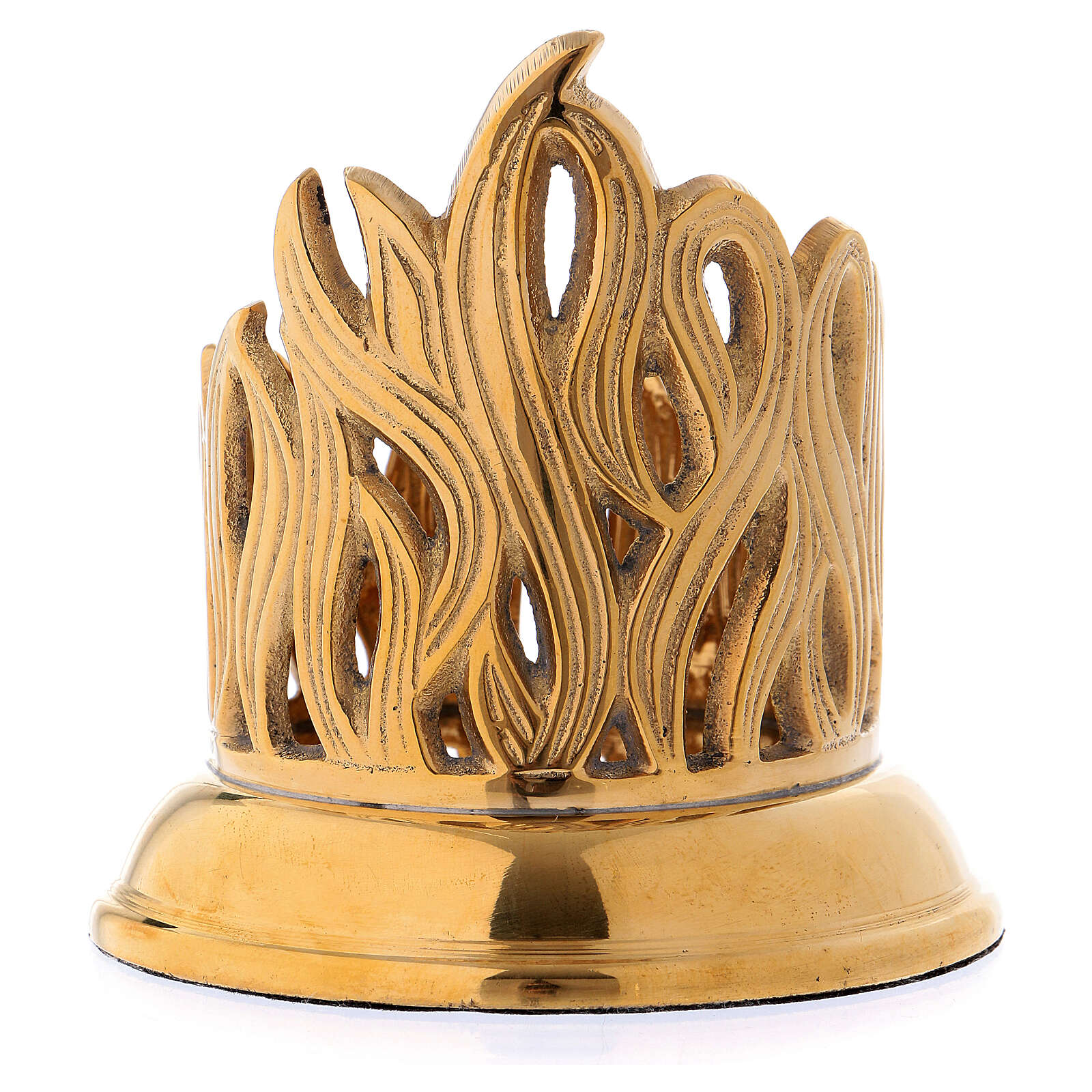 Flame carved candlestick in gold plated brass 4