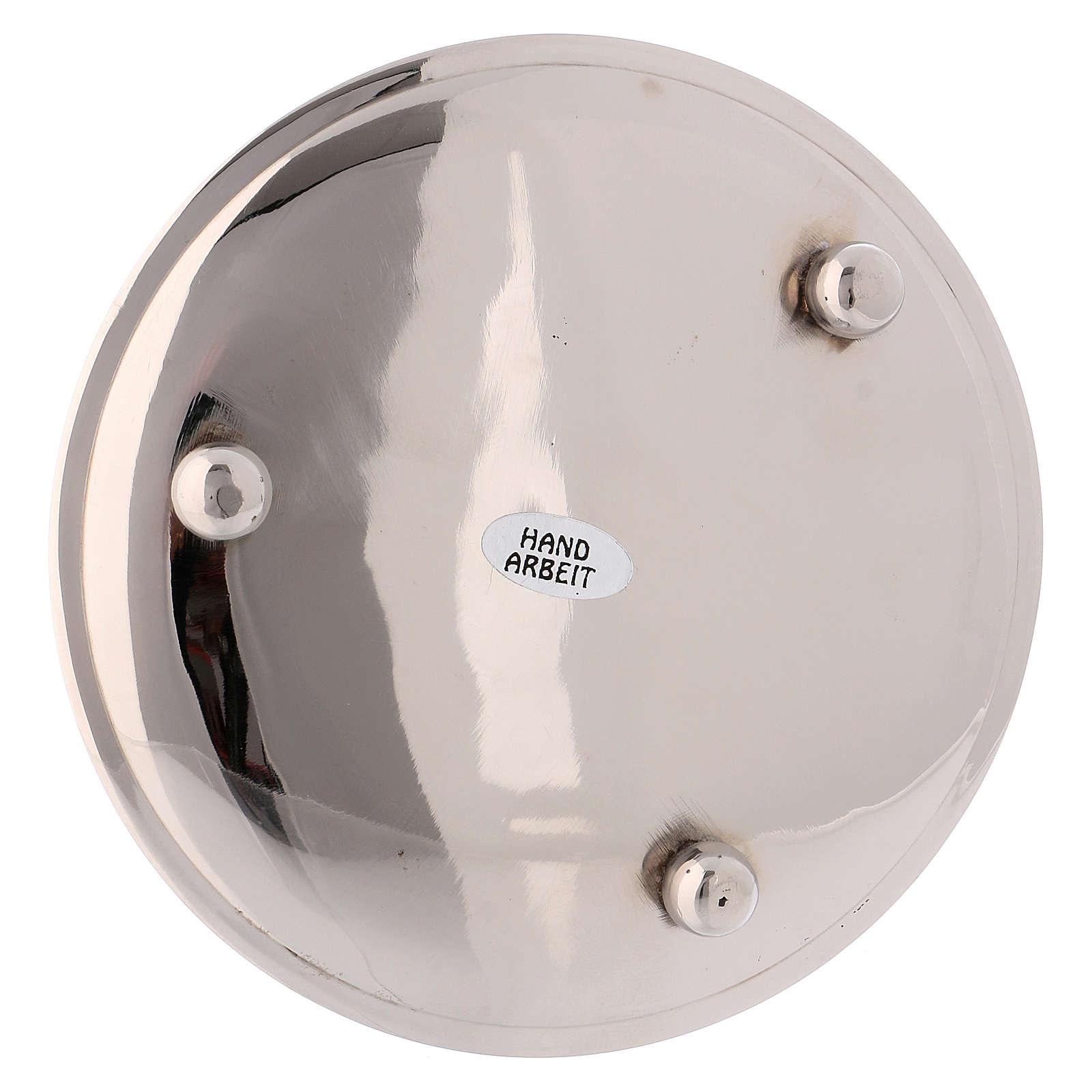 Portacandele ottone argentato lucido diametro 13 cm 3