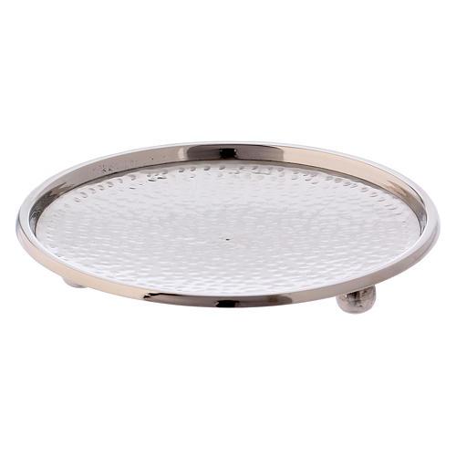 Portacandele ottone argentato lucido diametro 13 cm 2