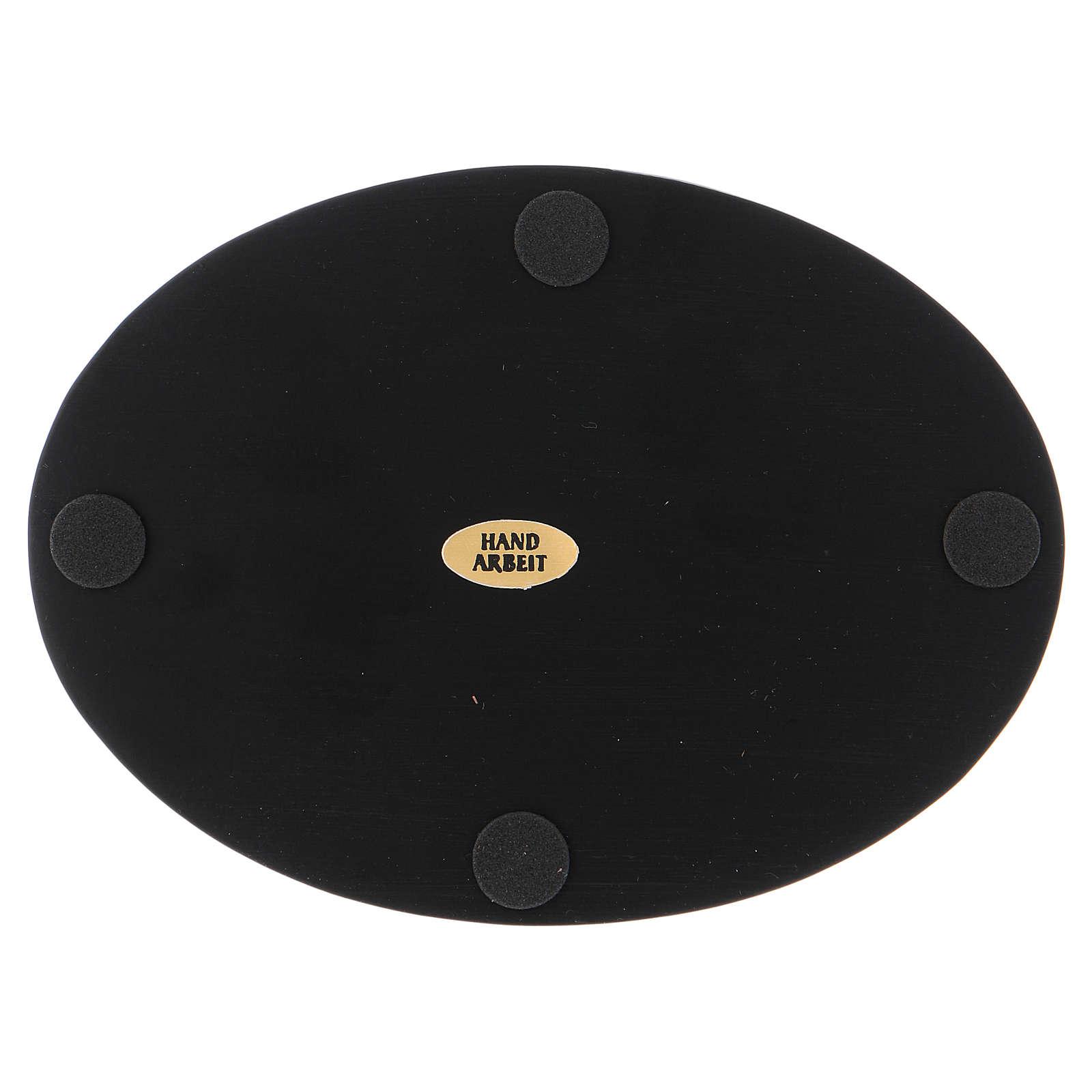Piattino portacandele ovale alluminio nero 3