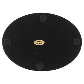 Piattino portacandele ovale alluminio nero s2
