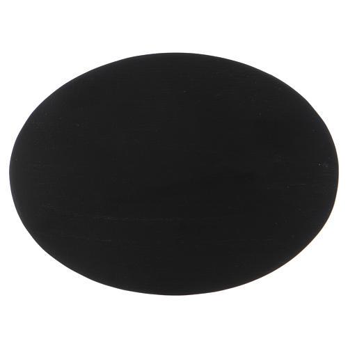 Piattino portacandele ovale alluminio nero 1