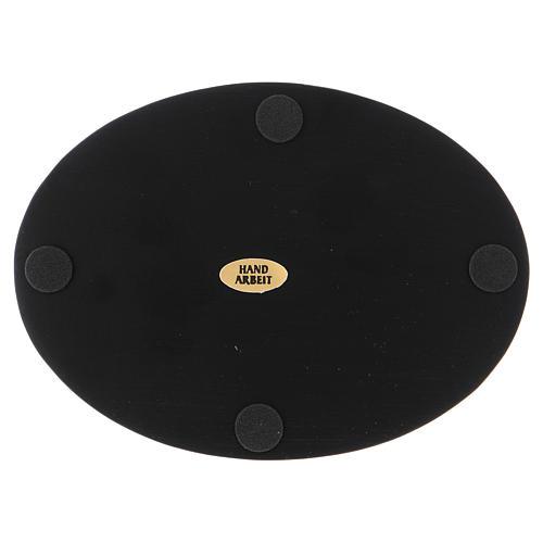 Piattino portacandele ovale alluminio nero 2