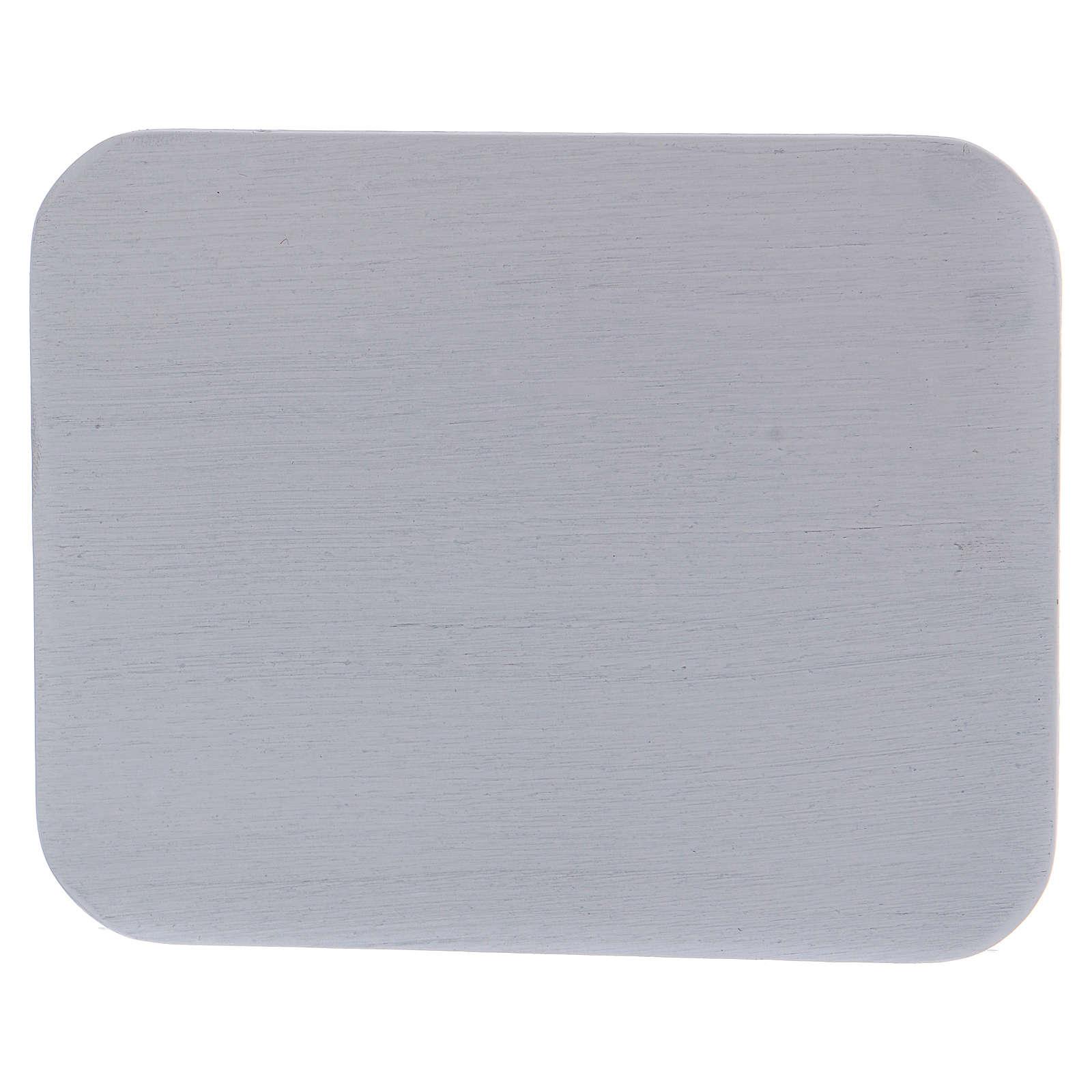 Piattino portacandele rettangolare alluminio bianco 3