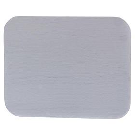 Piattino portacandele rettangolare alluminio bianco s1