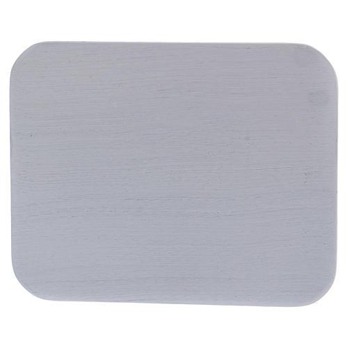 Piattino portacandele rettangolare alluminio bianco 1