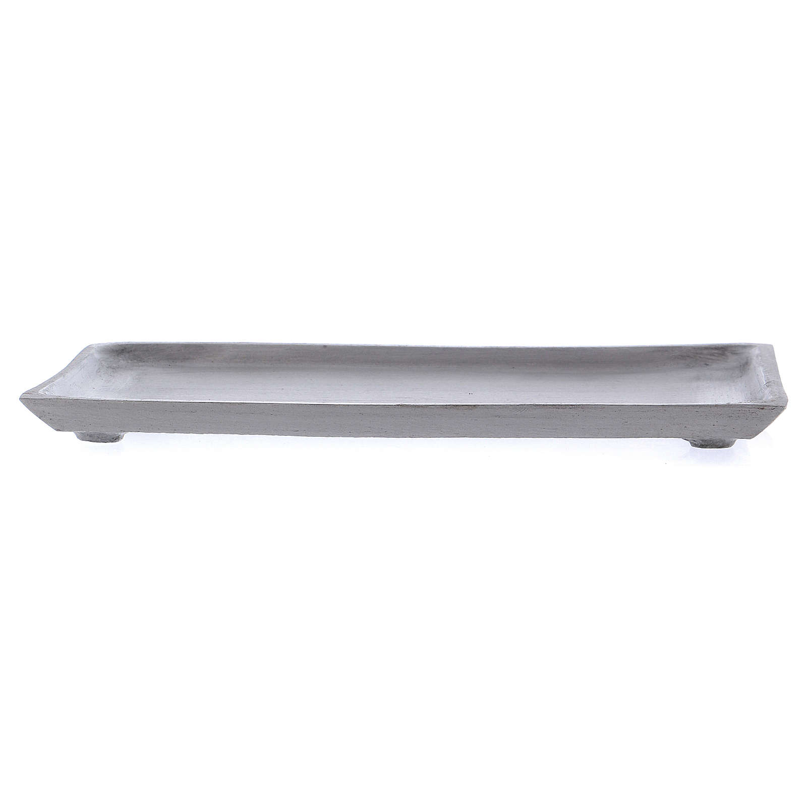 Piattino portacandela rettangolare bordo rialzato argentato 3