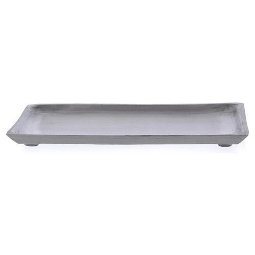 Piattino portacandela rettangolare bordo rialzato argentato 1
