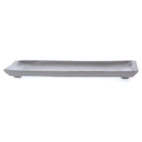Piattino portacandela rettangolare bordo rialzato argentato 2