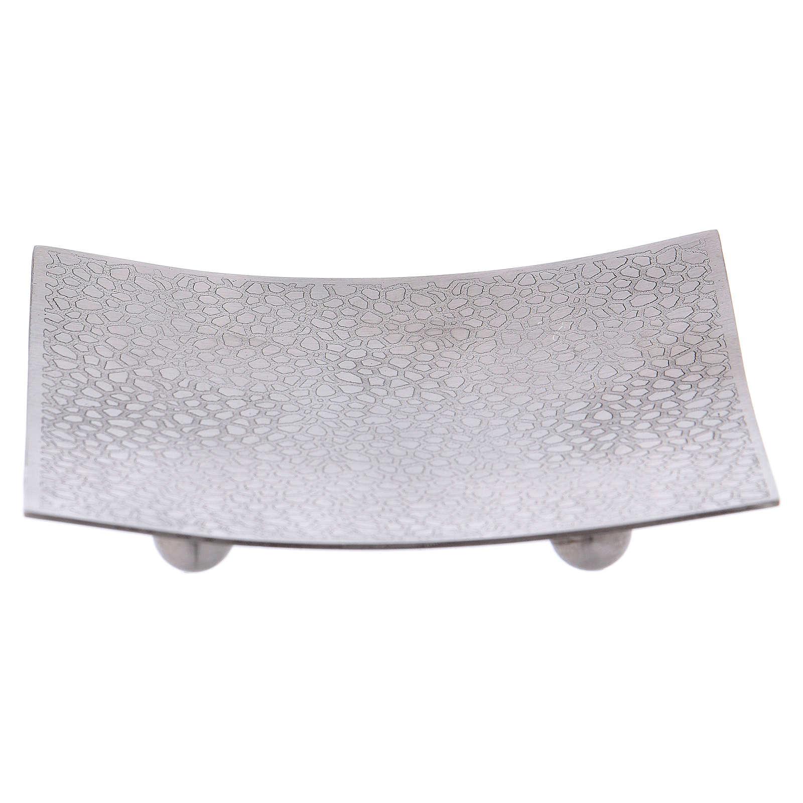 Portacandele quadrato stile moderno alluminio argentato 3